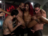 Ebony ginger slut enjoys her sex toys and big peckers