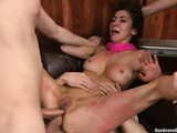 Many big peckers for a brunette slut in this gangbang
