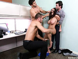 Super hot gangbang party with a brunette porn whore