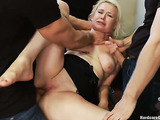 Long haired blondie gets used by her horny partners