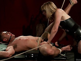 Hanged up bodybuilder is waiting for deserved tortures