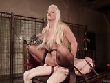 Pale-skinned dude is a submissive doggy of gorgeous blonde