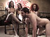 Three Ebony sluts want to turn white sissy boy crazy