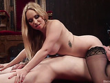 Skillful baroness plays with her new submissive partner