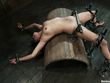 Remarkable Ebony gets her twat masturbated in the BDSM trap