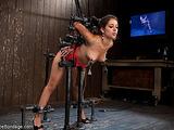 Latina cutie was tied in a crazy BDSM construction