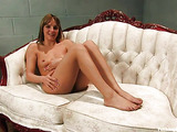 White sofa becomes the place of dirty lustful masturbation