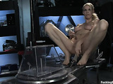 Elegant blonde angel agrees to try fucking machines