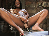 Ebony lovely gets her wet wide pussy penetrated by a dildo