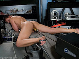 Inexperienced female plays with robotic sex machines