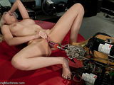 Blonde-haired chick gets both holes stimulated hard