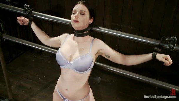 Natural tits of brunette BDSM slave attract male attention ...