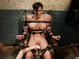 Special chair brings busty mistress a lot of emotions