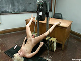 Short haired blonde schoolgirl enjoys her fucking machine