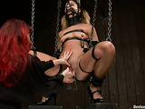 Chains and gag help lady to become a real helpless slave