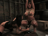 Raven haired Euro slut dominates over a curvy ebony goddess
