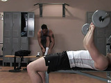 Two brutal fellows work hard in the gym to become stronger