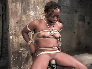 smiling ebony gets bound