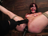 Redhead girl in sexy lingerie gets tied up and toyed