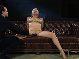 Tied up blonde honey with nice boobs gets toyed by her partner