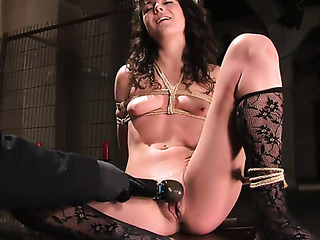 young brunette lady black