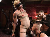 Blonde dude in bondage is ready for freaky anal toying