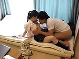 innocent little japanese schoolgirl sucks her boyfriend's cock in bed