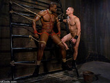Black and white fellows try dominator's and submissive's roles