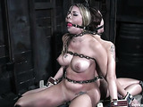 Inked busty blondie gets bound with chains with her brunette friend for tortures
