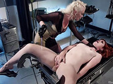 Red small-titted bitch gagged and bound tortured with electricity