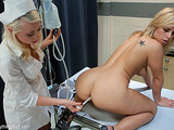 Blonde student nailing her pooper with glass toy before enema and fucking with her professor