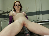 Red bitch is really excited with her new fuck machine