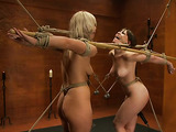 Blonde slut and a brunette chick get tied up and used