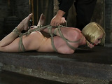 Blonde chick with big boobs gets hogtied and gagged