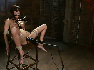hogtied brunette gal gets