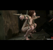 18 year old redhead honey gets tied up and used in the dungeon