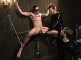 Young hunk gets blindfolded and tied up by his master