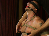 Beefy stud in bondage gets his hard dick stimulated