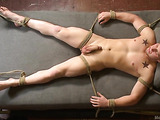 Tied up gay hunk gets assfucked hard in the gym