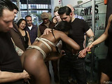 Ebony bitch with plaits gets toyed and fucked hard in bondage in the sex shop