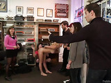 Everybody watching blonde chick with natural bobs gets disgraced and fucked in the public place