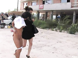 Tanned brunette teen gets blindfolded and poked dirtily in the backstreet