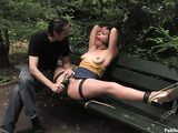 Red teen slut gets tortured and fucked roughly on the park bench
