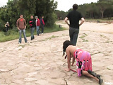 Ebony beauty led on rope like a dog disgraced in public place