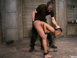 Slutty ebony with a mohawk gets tied up and used by her man