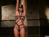Brunette whore gets tied up and used by her well hung man