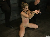 Tied up blonde bitch sucks a big cock and gets nailed later