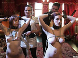 Two tied up inked brunettes get used by some kinky people