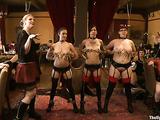 Three whores in bondage suck a black dick with pleasure