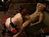 Horny bald dude fucks three tied up sluts with pleasure